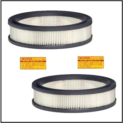 (2) air filter elements with decals for 1960-61 Chrysler 300F/G and 1960-61 Plymouth; Dodge and DeSoto with dual ram induction