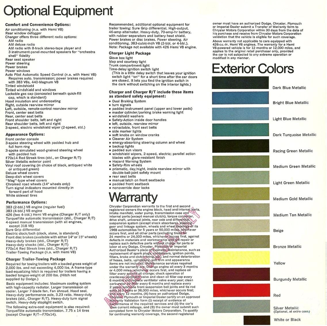 Original Sales Brochure For 1968 Dodge Charger