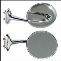 Retro-style chrome mirror fits either side of 1936-56 Chrysler Corp. cars and trucks