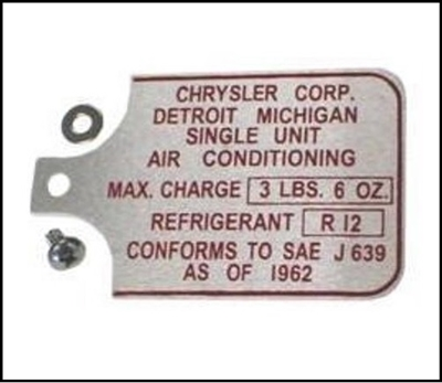A/C Compressor Tag for 1962-1966 MoPar C-Body & Imperial
