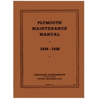 Chrysler Corp. factory shop manual for all 1934-36 Plymouth PE - PF - PG - PJ - P1 - P2