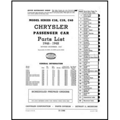 MoPar parts manual for all 1946-48 Chrysler Royal - Windsor - Saratoga - New Yorker - Town & Country - Imperial