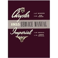 Factory shop service manual for all 1955 Chrysler Windsor - New Yorker - C300 - Town/Country and all 1955 Imperial
