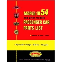 MoPar parts manual for all 1953-54 Plymouth - Dodge - DeSoto - Chrysler passenger cars