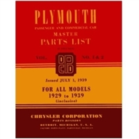 Original illustrated factory parts manual for all 1929-39 Plymouth passenger cars