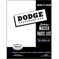 Illustrated Factory Parts for 1936-1942 Dodge Passeneger Cars