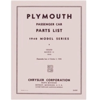 Chrysler Corp authorized and licensed reprint of the original illustrated factory parts manual for all 1940 Plymouth passenger cars