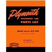 Factory Parts Manual for 1949 Plymouth