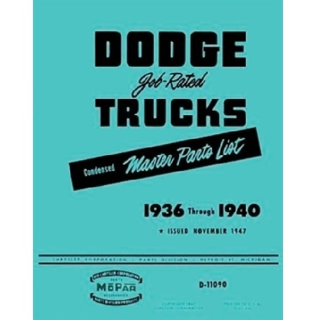 Factory Parts Manual for 1936-1940 Dodge & Plymouth Trucks