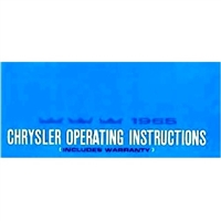 Owner/operator manual for all 1965 Chrysler Newport - New Yorker - Town/Country - 300 - 300L