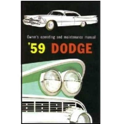Factory Owner's Manual for 1959 Dodge Passenger Cars