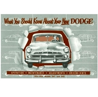 Reproduction owner - operator's glove box manual all 1951-52 Dodge Coronet - Meadowbrook - Wayfarer - Sierra