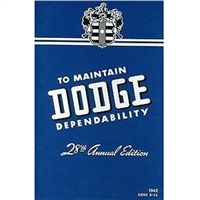 Factory Owners Manual for 1942 Dodge Passenger Cars