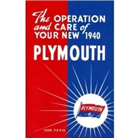 Factory Owner Manual  for 1940 Plymouth