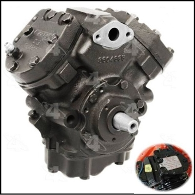 Remanufactured air conditioning compressor with correct freon data tag for all 1970-76 Plymouth Duster - Scamp - Valiant and Dodge Dart - Demon - Sport