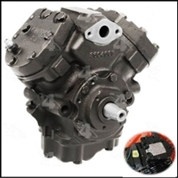 Remanufactured air conditioning compressor with correct freon data tag for 1964-66 Plymouth and Dodge A-Body