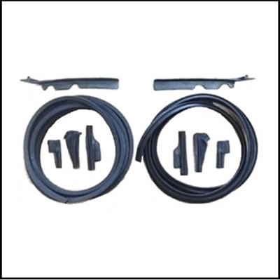 Door-jamb weatherstrip package with 25 ft of correct rubber extrusion and (8) molded ends for 1960-63 Imperial convertibles and 2-door hardtops