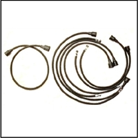Lacquered-cotton spark plug wire set for all 1946-50 Plymouth Belvedere - Cambridge - Concord - Cranbrook - Deluxe - Plaza - Savoy - Special Deluxe - Suburban