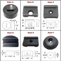 Package of (4) precision molded rubber door bumpers for all 1941-48 Chrysler Corp. passenger cars