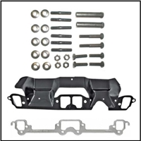 Set of LH exhaust manifold gasket with spark plug wire heat shield and RH side manifold gasket for 1970-73 340 CID engine