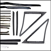 20-piece vent, door window and quarter window rubber and cat-whisker set for 1966-67 Plymouth Belvedere - GTX - Satellite and Dodge Charger - Coronet door hardtops and convertibles
