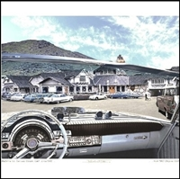 Composite photo of the instrument panel of 1962 Chrysler 300H convertible with the San Luis Obispo, CA Madonna Inn in the background