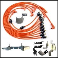 MoPar script spark plug wire set with plug wire routing bracketst and exhaust manifold plug wire heat-shields