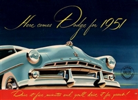 Original Fold-Out Sales Brochure for 1951 Dodge Passenger Cars