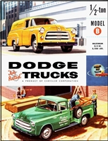 6-panel showroom sales catalog for 1955 Dodge C-1-B trucks