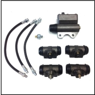 9-piece set includes the master cylinder, all (4) wheel cylinders, all (3) rubber brake hoses and a hydraulic stop light switch