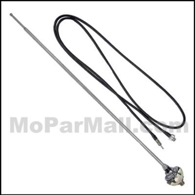 New, show-quality radio antenna and mount for all 1970-74 Plymouth and Dodge E-Body
