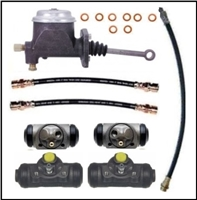Master cylinder, (4) wheel cylinders and (3) flexible hoses for all 1960-66 Plymouth Valiant; all 1964-66 Barracuda; all 1961-62 Dodge Lancer and all 1963-66 Dart