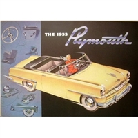 28-page deluxe showroom sales catalog for 1953 Plymouth Belvedere - Cambridge - Cranbrook - Suburban