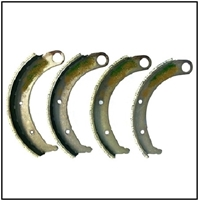 Set of (4) relined bonded brake shoes for all 1935-47 Dodge and Plymouth trucks