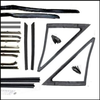 22-piece vent, door window and quarter window rubber and cat-whisker set for 1968-70 Plymouth Belvedere - GTX - RoadRunner - Satellite and Dodge Charger - Coronet - SuperBee 2-door hardtops/coupes
