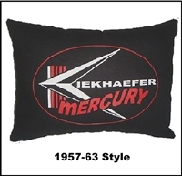 "17"" x 12.5"" pillow with silk-screened vintage Mercury outboard motors logo"