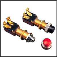 "Normally ""closed"" momentary screw terminal push-button switch for classic wooden runabouts"