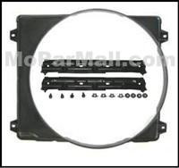 "Molded resin fan shroud and mounting hardware for use on 1969-1970 Plymouth Belvedere - RoadRunner - Satellite and Dodge Coronet - Charger - SuperBee with 22"" radiator"