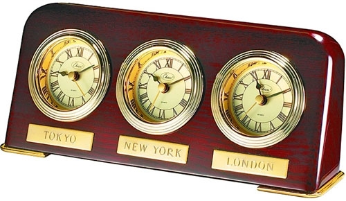 THREE TIME ZONE WOOD CLOCK 3 Timezone Clock World Time Desktop