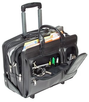 Value Priced Leather Detachable Wheeled Laptop Case By Mcklein