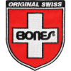 Bones Bearings Swiss Shield 3in x 3.5in - White/Red - Patch