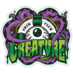 Creature Swimclub Decal - Purple - 4in x 3.375in - Sticker