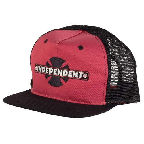 cc7b785eeff2a Independent OG Bar Cross Trucker Mesh Hat - Red Black - Men s Hat