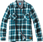 Enjoi Not Bad Plaid L/S Woven Top - Turquoise - Men's Collared Shirt