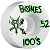 Bones 100's V1 - White - 52mm - Skateboard Wheels (Set of 4)