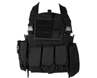 Defcon Gear Airsoft Vest - 600 Denier Commando Chest Rig - Black