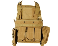 Defcon Gear Airsoft Vest - 600 Denier Commando Chest Rig - FDE