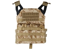 Defcon Gear Airsoft Vest - Low Profile Plate Carrier - Digi Desert