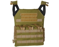 Defcon Gear Airsoft Vest - Low Profile Plate Carrier - OD/Tan