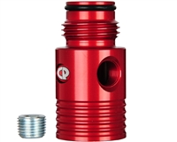 Custom Products Inline Regulator Gauge Port Adapter - Red